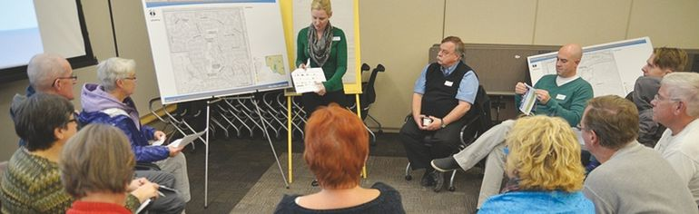 Residents of Glen Allan and 10 other mature neighbourhoods in Sherwood Park meet to discuss their community's defining characteristics at a Wednesday, Oct. 29 workshop held at the Strathcona County Community Centre. Michael Di Massa/Sherwood Park News/QMI Agency