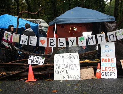 Protest tents set up on Burnaby Mountain, in violation of city bylaws. (ADA SLIVINSKI/24 HOURS)