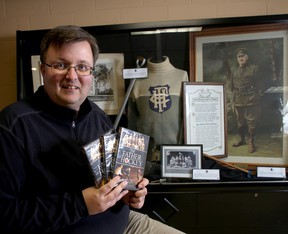 Dale Morrisey, producer of the documentary Captain James T. Sutherland and the Battle for Hockey's Hall of Fame in Kingston's Original Hockey Hall of Fame at the Invista Centre on Friday October 31 2014. (IAN MACALPINE-KINGSTON WHIG-STANDARD/QMI AGENCY