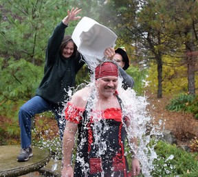 TRW Tillsonburg plant manager Jeff Carrey accepted an ice bucket challenge Friday afternoon, raising more than $1,000 for a local charity (Toys For Kids - Salvation Army). TRW extended the challenge to other manufacturing facilities to do something similar for local charities. (CHRIS ABBOTT/TILLSONBURG NEWS)