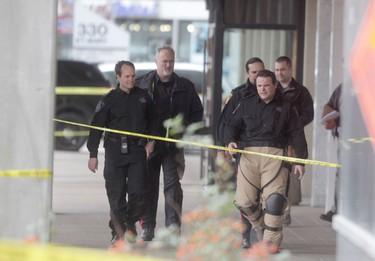 Winnipeg police evacuated a hotel in downtown Winnipeg after a device was found.  The bomb unit was on scene for several hours Nov. 4, 2014.