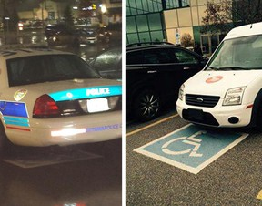 """These photos were posted to Twitter yesterday showing an Ottawa police cruiser and a Canada Post truck parked in a handicapped zone, something Mayor Jim Watson called """"not acceptable."""" TWITTER/SUBMITTED PHOTOS"""