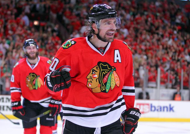 Chicago Blackhawks forward Patrick Sharp celebrates a goal during Game 7 of the Western Conference Final against the Los Angeles Kings at the United Center. (Dennis Wierzbicki/USA TODAY Sports)
