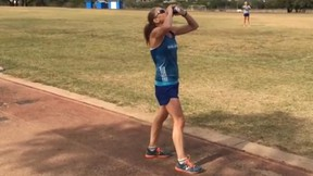 Chris Kimbrough, a 44-year-old mother of six, broke the women's beer mile record on Nov. 2. (Steve Waters/YoutTube.com)
