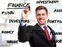 Investor investing - chalkboard with investment terms