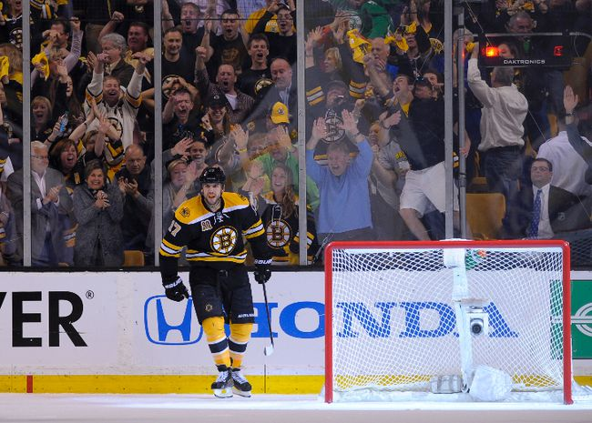 Boston Bruins left wing Milan Lucic reacts after scoring an empty net goal during the third period against the Montreal Canadiens in Game 2 of the second round of the 2014 NHL Playoffs at TD Banknorth Garden on May 3, 2014. (Bob DeChiara/USA TODAY Sports)