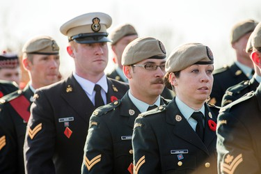 Members of the military begin the Remembrance Day ceremonies at the National Military Cemetery at Beechwood Cemetery Tuesday. DANI-ELLE DUBE/OTTAWA SUNxx