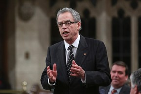 Finance Minister Joe Oliver speaks during Question Period in the House of Commons on Parliament Hill in Ottawa Nov. 6, 2014. REUTERS/Chris Wattie