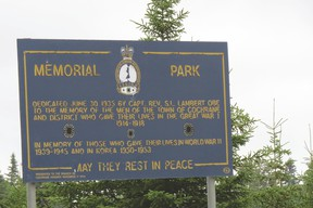 A sign erected to commemorate the lives lost in Cochrane during the great wars.
