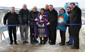 A ribbon cutting was held Friday morning to officially re-open the Highway 547 bridge that crosses over the Bow River on the Siksika Nation.  Stephen Tipper, Vulcan Advocate