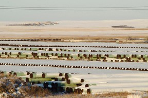 A depot used to store pipes for Transcanada Corp's planned Keystone XL oil pipeline is seen in Gascoyne, N.D. Nov. 14, 2014.  REUTERS/Andrew Cullen