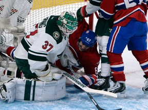 Montreal Canadiens forward Max Pacioretty (67) crashes into the net of Minnesota Wild goalie Josh Harding (37) during the first period at the Bell Centre in this 2013 file photo. (Eric Bolte-USA TODAY Sports)