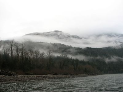 View of clouds hanging over the mountains seen from a river float in Brackendale, B.C. JANE STEVENSON/QMI AGENCY