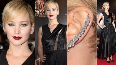 """Lawrence sizzled in this beautiful black Dior number in Paris in Nov 2013. What do you think of her ear accessory? (PNP/WENN.com)  PDRTJS_settings_7935019 = { """"id"""" : """"7935019"""", """"unique_id"""" : """"default"""", """"title"""" : """""""", """"permalink"""" : """""""" }; (function(d,c,j){if(!document.getElementById(j)){var pd=d.createElement(c),s;pd.id=j;pd.src=('https:'==document.location.protocol)?'https://polldaddy.com/js/rating/rating.js':'http://i0.poll.fm/js/rating/rating.js';s=document.getElementsByTagName(c)[0];s.parentNode.insertBefore(pd,s);}}(document,'script','pd-rating-js'));"""