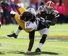 Pittsburgh Steelers running back LeGarrette Blount (27) carries the ball as Cleveland Browns safety Tashaun Gipson (39) defends during NFL play at FirstEnergy Stadium. (Ron Schwane/USA TODAY Sports)