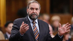 New Democratic Party leader Thomas Mulcair speaks during Question Period in the House of Commons on Parliament Hill in Ottawa November 18, 2014. REUTERS/Chris Wattie