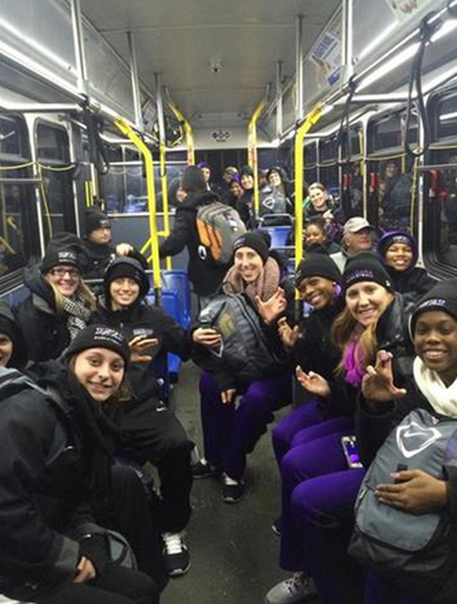 The Niagara University women's basketball team headed home on the bus after being stranded for more than 24 hours in a Buffalo snowstorm. Twitter photo.