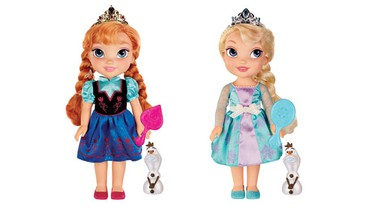 Disney's Frozen Toddler Dolls Anna (left) and Else by Tolly Tots, $29.94 each.