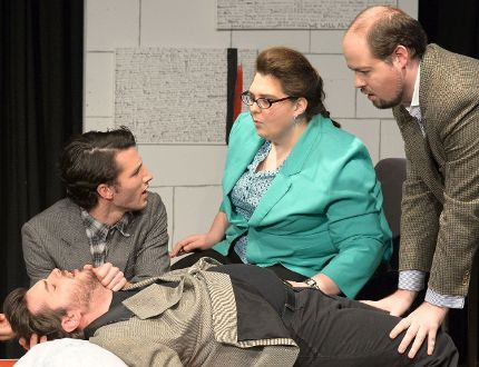 Cast members of The Normal Heart rehearse at Procunier Hall. (Photo courtesy of Ross Davidson).
