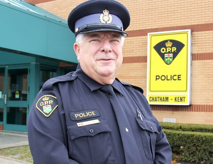 Chatham-Kent OPP Const. Ron Bourdeau has been recognized for 40 years of exemplary service to law enforcement in Canada. PHOTO TAKEN Sunday, November 23, 2014.VICKI GOUGH/ THE CHATHAM DAILY NEWS/ QMI AGENCY > > > >>>>>>> CUTLINE FOR PAGINATION BELOW <<<&lt