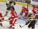 Kingston Frontenacs' Spencer Watson tries to knock the bouncing puck past Sault Ste. Marie Greyhounds goaltender Brandon Halverson during the third period of Ontario Hockey League action at the Rogers K-Rock Centre on Sunday. Watson scored the only Kingston goal as the Fronts lost 3-1. (Julia McKay/The Whig-Standard)