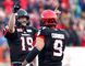 Stampeders QB Bo Levi Mitchell and RB Jon Cornish celebrate a TD in the first half of Sunday's CFL West Final at McMahon Stadium. Photo by Darren Makowichuk/Calgary Sun.