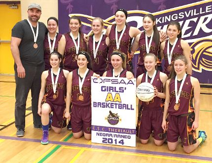 The Thériault Flammes senior girls claimed the first-ever girls basketball medal at OFSAA for their school this weekend, claiming bronze in Kingsville. Members of the team include, back row, from left, coach Rick Cornell; Mégan Roy; Emily Boyer; Cassandra Desrosiers; Cassidy Sabourin; Mélanie Marin; and Katrina Généreux; front row, from left, Désirée Groulx; Krysta Beaudry; Kayla Deschatelets; Mélissa Lacasse; and Kim Caron. Not pictured is assistant coach Pat Durepos.