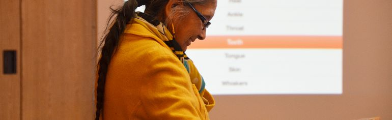 Lynda Minoose demonstrates the new Denesuline language app at Cold Lake First Nations on Nov. 18. The app, available for iPhones and iPads, was developed with the help of a Las Vegas-based company. Only 85 people living on reserve are fluent in Denesuline and CLFN estimated the language will be extinct in two generations if steps aren't taken to preserve it. The app is designed to help teach the language to younger generations.
