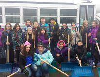 Students from H.W. Pickup who volunteer for the Snow Angels program pose for a picture with shovels in their hands, ready for any white stuff coming this winter.