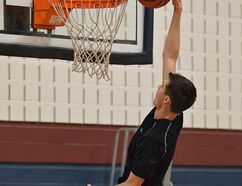 <p>Josh Turner of the Assumption Lions senior boys basketball team goes to the hoop during a practice on Thursday, November 20, 2014 at Assumption College in Brantford, Ontario.</p><p>Brian Thompson/Brantford Expositor/QMI Agency