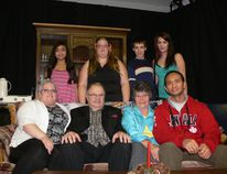 The Nipawin Centennial Players performed November 20-21 at the Legion hall. (Back left to Right) Marie Banaria, Shannon Butt, Camren Smith, Rayna Dotzler. (Front left to right) Heidi Hoppe, Rob Berday, Hughene Day, Erwin Banaria.