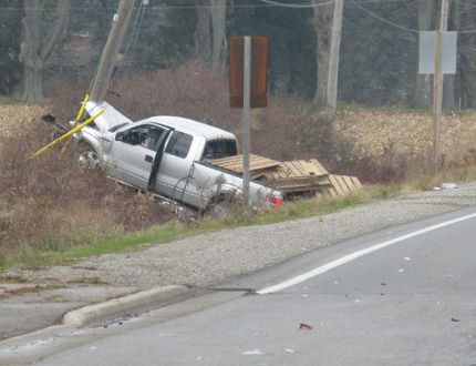 A man, 63, was killed after the pickup truck he was driving struck a hydro pole north of Simcoe on Thursday morning