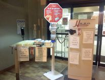 Safety precautions in the South Bruce Grey Health Centre Kincardine entrance on Nov. 26, 2014. (LISA UMHOLTZ/KINCARDINE NEWS)