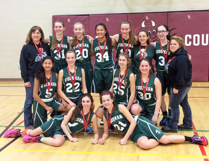 Submitted photo The O'Gorman Knights cemented their claim as the best junior girls basketball squad in the region by winning the 2014 NEOAA Championship in Kirkland Lake. Members of the team include, back row, from left; coach Cathy Beard; Alison Cartan; Sarah Duke; Arianna Gagnon; Gabby Shaffner; Kendra Carter; Sierra Jones-McLeod; coach Amanda Maxwell; middle row, from left; Fereshte Farrokhpey; Tara Jensen; Olivia Fregonese; Marli Narduzzi; front row, from left; Lizzie Loreto and Emma Weltz.