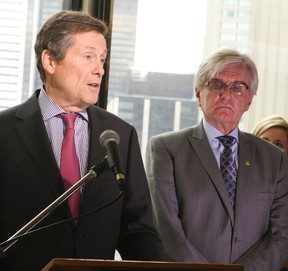 Mayor-elect John Tory with city manager Joe Pennachetti updates the state of the city on Thursday, Nov. 27, 2014. (Veronica Henri/Toronto Sun)