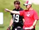 Stamps QB Bo Levi Mitchell receives some instruction from OC Dave Dickenson earlier this season. Photo by Darren Makowichuk/Calgary Sun.