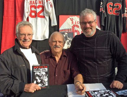"""Thom Racine, right, and Moe Racine, centre, are seen with Cornwall's Pete Leclair, who purchased """"Moe the Toe - Never My Dream"""" at the Trunk Sale put on by the MS Society. T"""
