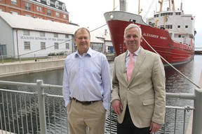 Marine Museum of the Great Lakes board chairman Christopher West, right, with museum manager Doug Cowie, is hoping the new city council will be agreeable to a partnership between the two parties to prevent the land on which the museum sits from going up for public tender. (Michael Lea/Whig-Standard file photo)