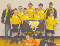 Pictured here (from left to right) are, back row, coach Rob Campbell, Reece Sparling, Nathan Haas, Tony Gerretsen, coach Matt Blysma, middle row, James Black, Neil Martin, Jake McClure, Alex Campbell, and, front row, Goalie-Connor Pullen. Missing from the photo are Liam Campbell and head coach Poncho Melo.