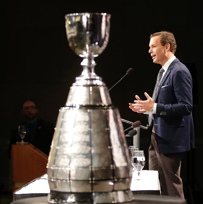 CFL Commissioner Mark Cohon speaks during the annual state of the league in Vancouver, BC, Friday November 28, 2014. (Al Charest/QMI Agency)