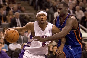 Jalen Rose of the Toronto Raptors makes his move to the basket during NBA action against the New York Knicks at the ACC. (QMI Agency file photo)