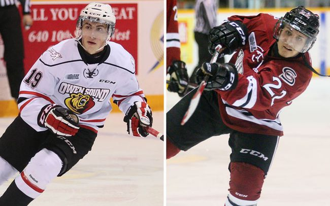 Owen Sound's Kyle Platzer and Guelph's Pius Suter have both been important pieces to their team's success thus far this season. (QMI Agency)
