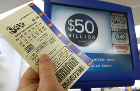 A Lotto Max ticket purchased at a Front St. convenience store could be the potential winner for the $50 million prize.  Jack Boland / Toronto Sun