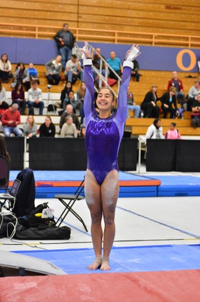 Sudbury's Kayla Folz shows a perfect landing at the Women's Artistic Gymnastics Tour Selection meet in Etobicoke in November, where she earned a spot on Team Ontario for the Lady Luck Invitational gymnastics meet in Las Vegas in January.