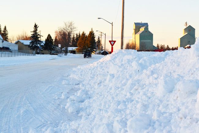 PICTURED: A small mountain range of snow is piled up along 49th Ave., where the town public works crew dumped it after the heavy snowfall of Nov. 27-28.