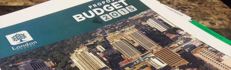 London's 2015 draft budget, tabled at city hall Dec. 8, 2014. CHRIS MONTANINI\LONDONER\QMI AGENCY