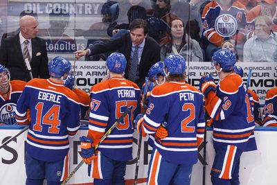 Edmonton head coach Dallas Eakins speaks to his players during the second period of a NHL hockey game between the Edmonton Oilers and Anaheim Ducks at Rexall Place in Edmonton, Alta., on Friday, Dec. 12, 2014. Ian Kucerak/Edmonton Sun/ QMI Agency