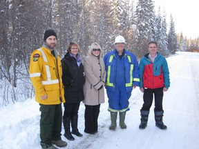 The FireSmart program will involve a number of partnerships. Pictured are Wade Colwell, AESRD; Rita Moir Division, 2 Councillor and Deputy Reeve; Shirley Mahan, Acting Reeve; Colin Campbell, CBC Consulting and Lee Chambers, Director of Community Services for Brazeau County.