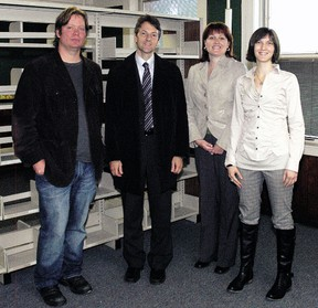 Touring the former Wellington Street Public School in this 2011 file photo were Andrew Gunn, trustee of the Dorothy Palmer estate, Richard Myers, president of Algoma University, St. Thomas Mayor Heather Jackson and Katy Gill, a Parkside Collegiate Institute grad who graduated from Algoma University with a degree in fine arts. (File photo)
