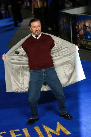 """Actor Ricky Gervais arrives for the European premiere of """"Night at the Museum: Secret of the Tomb"""" at Leicester Square in London December 15, 2014.  REUTERS/Luke MacGregor"""